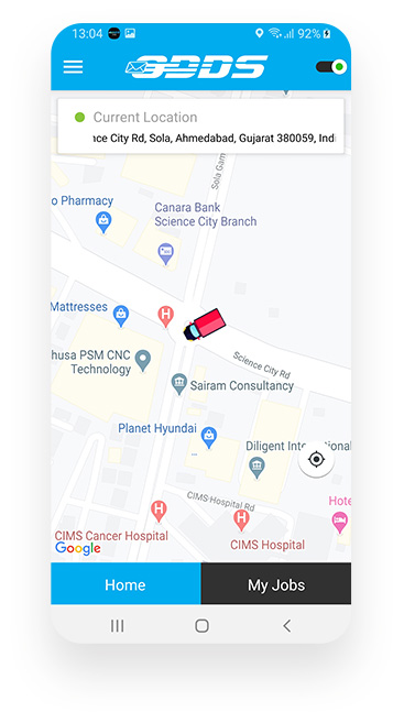 Logistics App GPS Location Screen