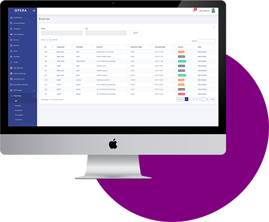 Handy Clone admin panel features
