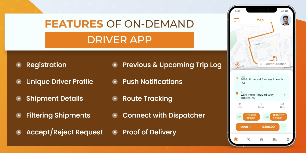 driver app features in on demand trucking