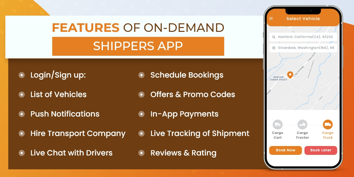 shipper app features in on demand shipping