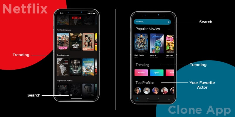 Comparison of Netflix and Clone App Features